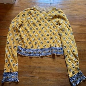 Free people yellow cropped sweater